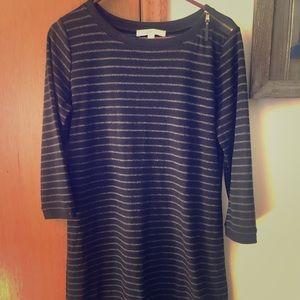LOFT size medium sweater dress. Black and grey.